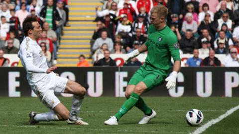 Manchester City goalkeeper Joe Hart challenges Swansea City striker Michu during the Premier League match at the Liberty Stadium that ended in a 0-0 draw.