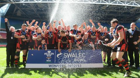 Wattstown celebrate winning the Swalec Bowl with a 27-17 victory over Fishguard and Goodwick at the Mikllennium Stadium.