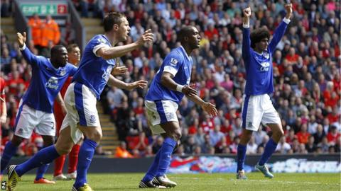Everton players appeal against a disallowed goal