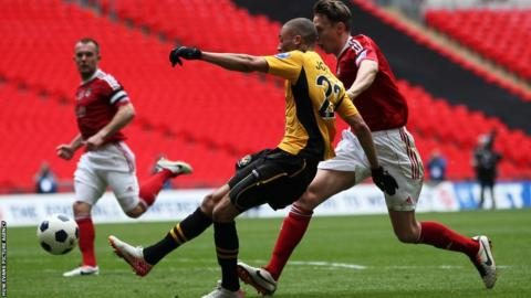 Christian Jolley breaks away to put Newport into the lead against Wrexham in the 86th minute at Wembley