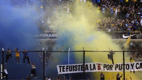 """Crowd violence during the second half of the Boca-River """"superclasico"""""""
