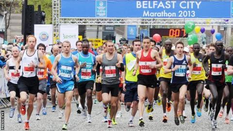 The elite runners at the start of Monday's Belfast Marathon
