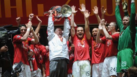 Sir Alex Ferguson and Champions League winning team of 2008