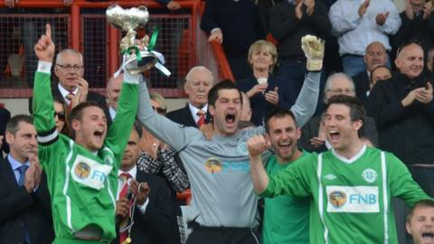 Guernsey celebrate winning the 2012 Muratti