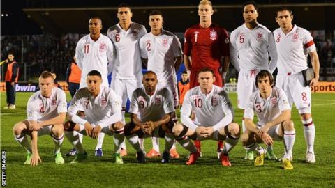 England team lining up before World Cup qualifier against San Marino in March
