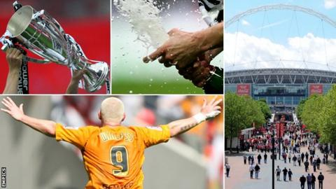 Play-off trophy, Champagne, Wembley Way and the Wembley Arch, Dean Windass