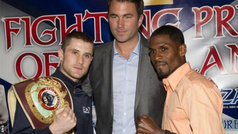 Promoter Eddie Hearn is flanked by WBO lightweight champion Ricky Burns and challenger Jose Gonzalez