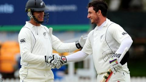 Ross Taylor congratulates Hamish Rutherford on his century