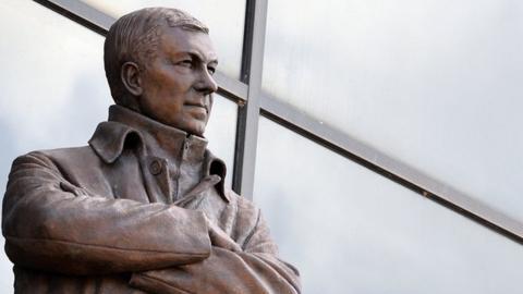 Statue of Sir Alex Ferguson outside Old Trafford