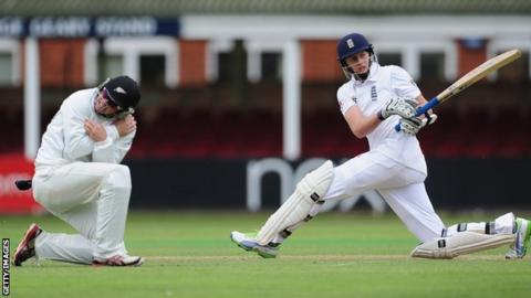 Joe Root plays through the leg side at Grace Road