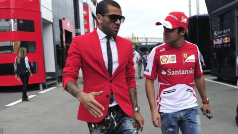 Daniel Alves (left) and Felipe Massa