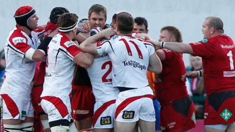 Scarlets and Ulster forwards tussle during their Pro12 semi-final play-off in Belfast