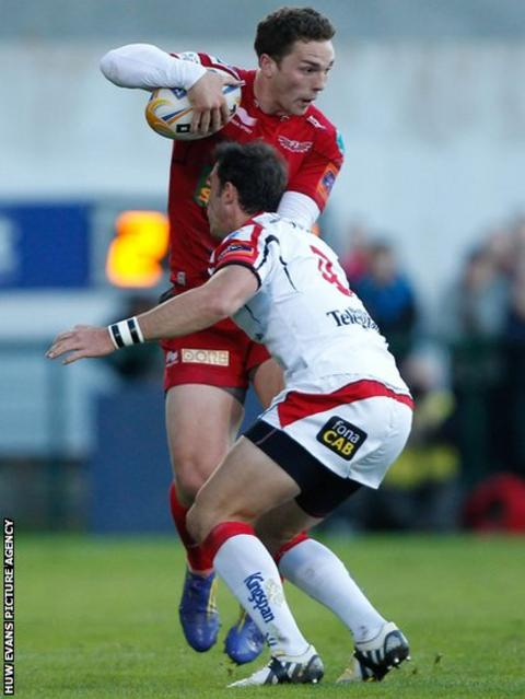 Wing George North is tackled