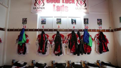 The scene in the Ulster dressing room before the players arrived for the crucial Ravenhill semi-final