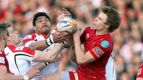 Andrew Trimble, Nick Williams and Liam Williams challenge for the ball at Ravenhill