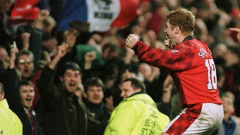 Paul Scholes celebrates scoring against Wimbledon during the 1996-97 FA Cup fourth round