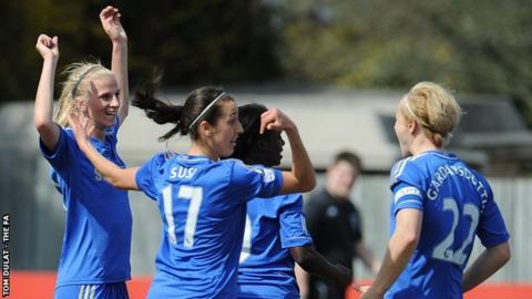 Sofia Jakobsson (left) celebrates with Chelsea team-mates