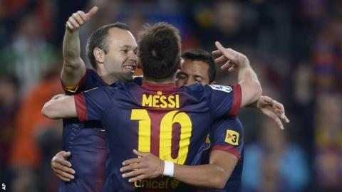 Barcelona celebrate scoring in a recent league game