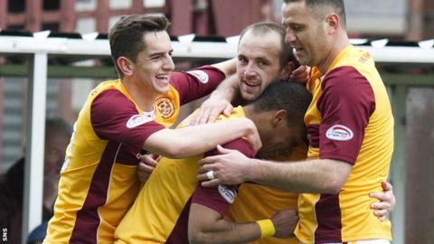 Motherwell celebrate James McFadden's opening goal