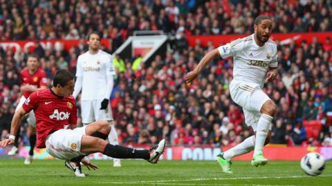 Javier Hernandez fires in the opening goal at Old Trafford following a mistake by Swansea captain Ashley Williams