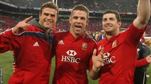 Jamie Roberts, Joe Worsley and Rob Kearney celebrate the Lions' third Test victory in 2009