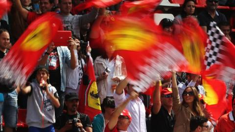 Spanish fans at the Circuit de Catalunya