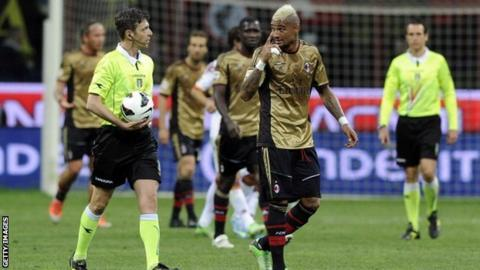 AC Milan's Kevin Prince Boateng and referee Gianluca Rocchi speak during the Serie A match between Milan and Roma