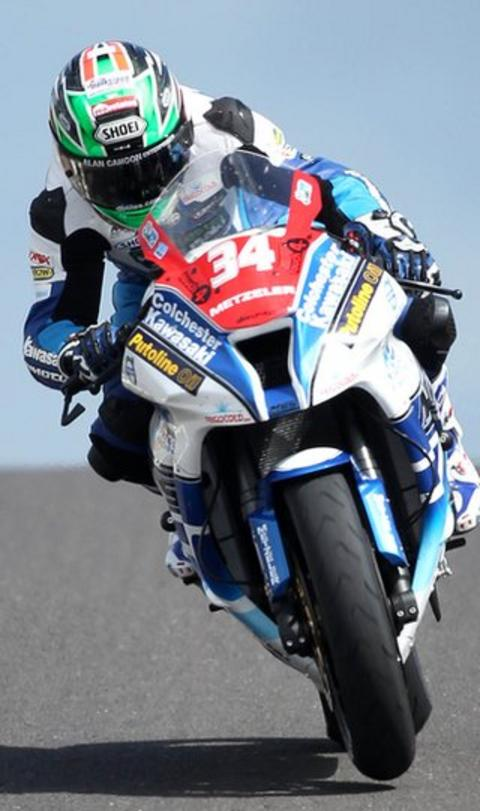 Carrickfergus rider Alastair Seeley on his way to setting the quickest time in Superstock practice