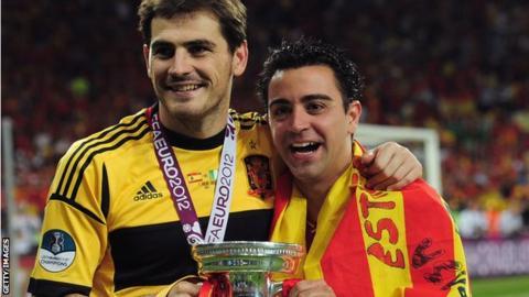 Iker Casillas and Xavi