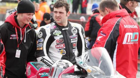 Michael Dunlop waits for practice to start on Thursday