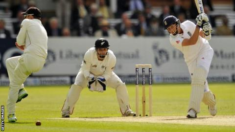 Joe Root drives through the off side in his unbeaten 25