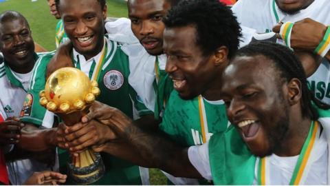 Nigeria celebrate winning the 2013 Nations Cup