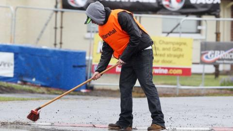 Efforts to clear the surface water from the circuit proved to be in vain