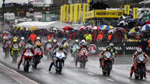 Riders faced difficult wet conditions in the Supersport race at the North West 200