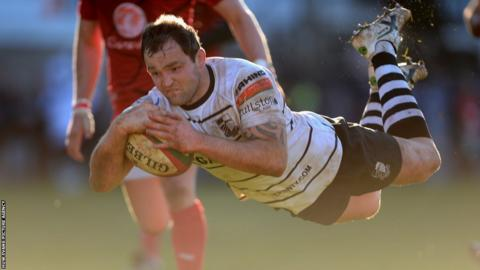 Flanker Rhys Shellard is on of five Pontypridd try scorers as they beat Llanelli 47-15 in the Welsh Premiership Play-off Final