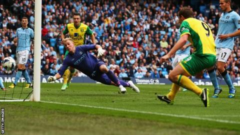 Grant Holt scores Norwich's second