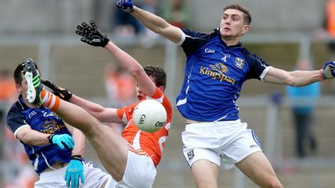Cavan pair Killian Clarke and Killian Brady challenge Armagh opponent Ethan Rafferty