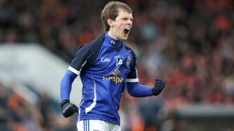 Cavan forward Martin Dunne celebrates one of his nine points in a man-of-the-match performance