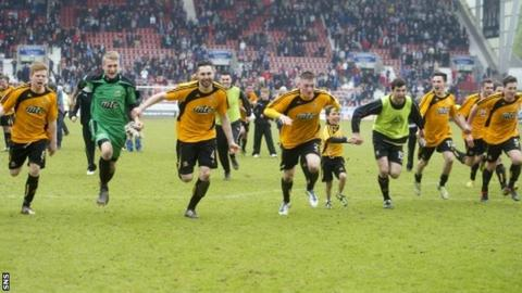 Alloa celebrate their promotion