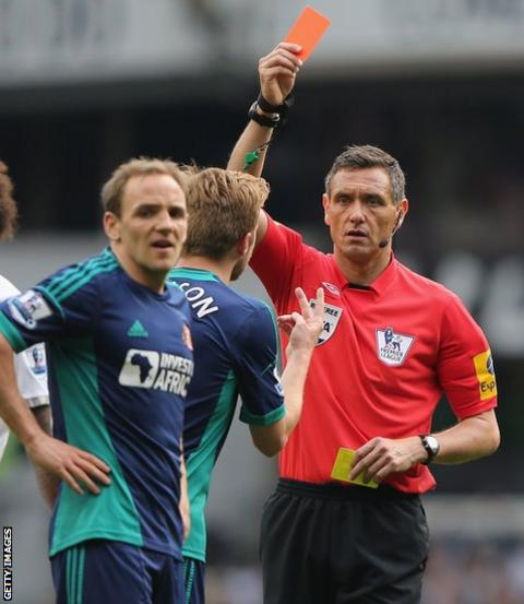 Wales midfielder David Vaughan is sent-off by referee Andre Marriner during Sunderland's defeat at Tottenham.