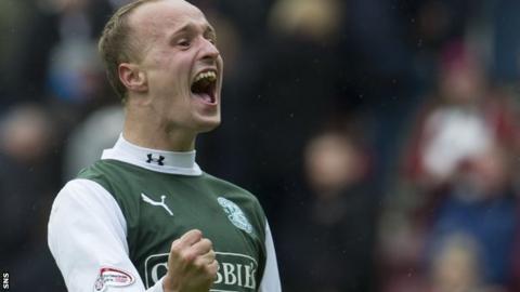 Hibs striker Leigh Griffiths