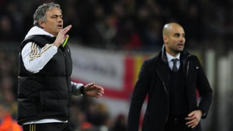 Real Madrid head coach Jose Mourinho and Barcelona head coach
