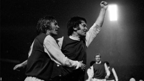 Jimmy O'Rourke celebrates after scoring for Hibernian against Celtic in 1972