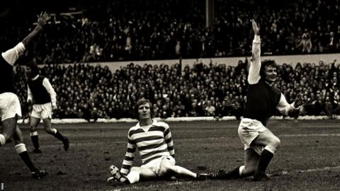 Joe Harper celebrates after scoring for Hibernian against Celtic in 1974