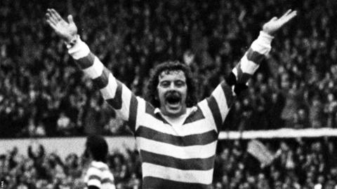 Dixie Deans celebrates scoring for Celtic against Hibernian in 1974
