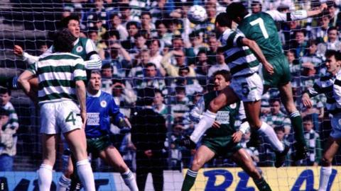 Mick McCarthy scores for Celtic against Hibernian in 1989