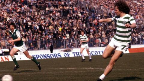 Davie Provan scores for Celtic against Hibernian in 1980