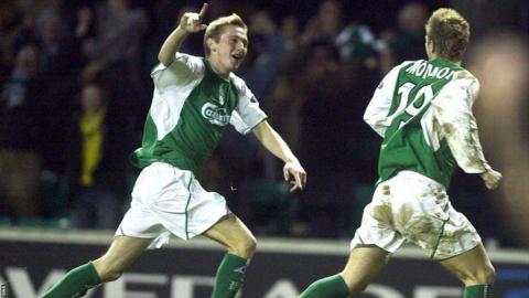 Kevin Thomson celebrates after scoring for Hibernian against Celtic in 2003