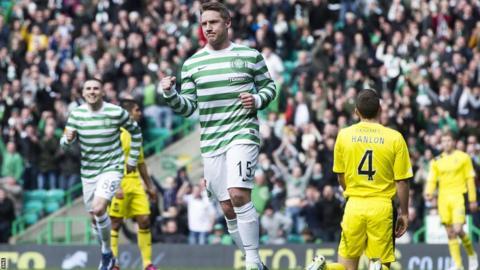 Kris Commons celebrates after scoring for Celtic against Hibernian