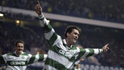 Willie Falconer celebrates scoring for Celtic against Hibernian in 1995